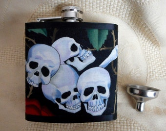 Gothic skull hip flask biker chick christmas gift womens mens Halloween drinks container liquor flask uk seller alexander henry fabric