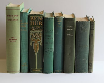 Antique & Vintage Green Book Bundle Instant Collecton Mini Library Photo Prop Decor