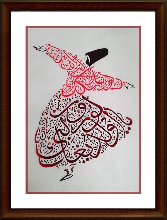 Semazen In Red Whirling Dervish Rumi Quote Hand