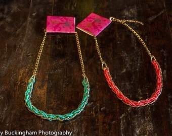 Teal and Pink and gold necklace- bridesmaids, bridal, and special occasion