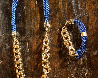 Blue and Gold Necklace and Bracelet set- Nautical Rope