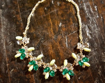 Green Goddess two tone green necklace, mint, emerald, and clear crystal bead bib necklace
