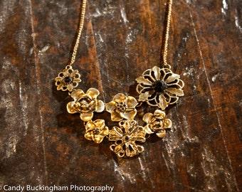 Vintage bronze large flower pendant necklace-bridesmaids