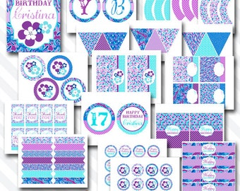 Personalized Diy Printable Purple and Blue Floral Birthday Party Digital Party Package