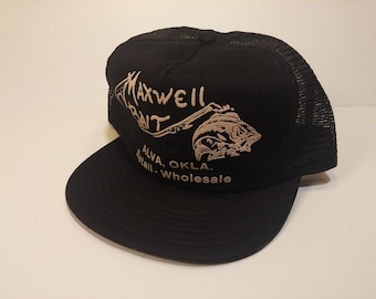 Vintage 1980s Trucker Ball Cap - MAXWELL BAIT Alva, Oklahoma -  Hipster, Rockabilly, Retro, Accessories