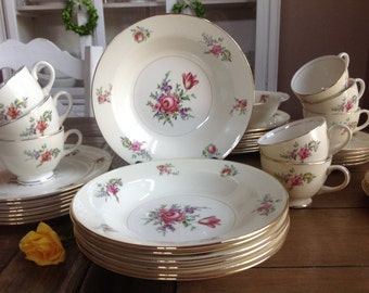 48 piece set of Shabby Chic Household Institute Eggshell Priscilla Dishes INSTANT cottage chic set! Perfect for Easter