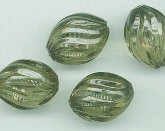 Nine gorgeous vintage lucite beads - forest green swirled ovals - 23 x 17 mm