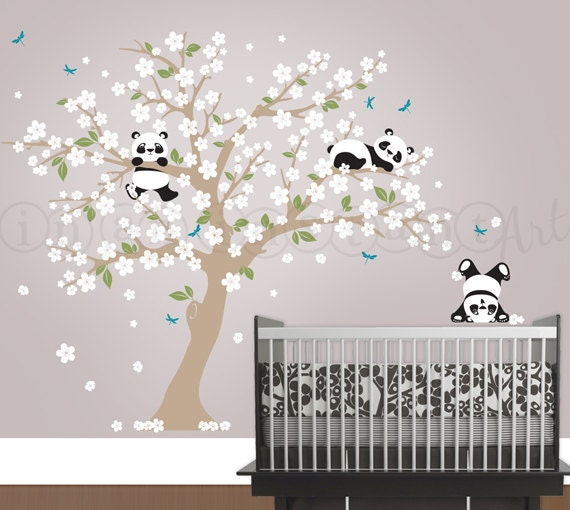 Panda wall decal panda and cherry blossom tree wall decal for Baby room sticker decoration