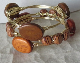 "Wood Bangle Set of 3 ""Bourbon and Bowties"" Inspired"