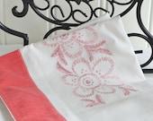 Vintage shabby towel-rail cover, monogram embroidery ,vintage Swedish linen, red white, large tea towel
