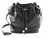 KeKe Leather Bucket Bag | Drawstring Bag | Shoulder Bag | Crossbody | Cowhide Leather | Black Leather | Handmade
