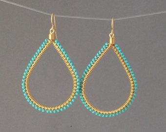 Small Gold Turquoise Beaded Wrapped Teardrop Earrings