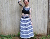 Vintage Blue and White Lace Plaid Maxi Skirt Medium