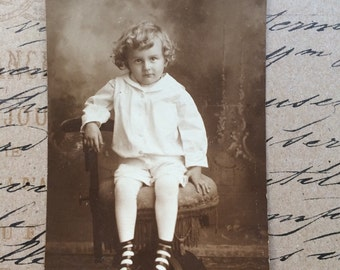 Vintage Photograph Postcard Real Photo Antique Postcard Curly Haired Toddler