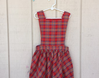 Vintage Plaid School girl dress, size 6