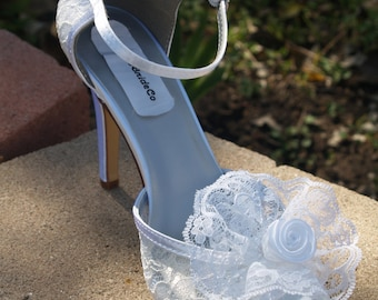 Wedding Lace Heels - Ivory High Heels Lace flower,Lace & Satin Peep Toe High Heels, Frilly Lace, 3 1/2 inch heel, Beach Destination, Cruise