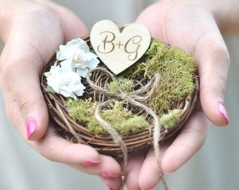 Personalized Rustic wedding ring bearer pillow