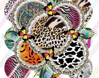 "1"" Bottle Cap Image 4x6 Digital Collage Sheet Animal Print Instant Download"