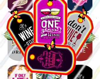 Wine Love Dog Tags Images 4x6 Digital Collage Sheet Instant Download