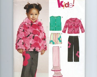 New Look 6553 Toddler Girl's Sewing Pattern Jacket, Vest, Pants, Skirt, Scarf (2005)