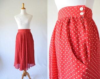 Red and Cream Polka Dot Skirt  | High Waist Skirt | Hugo Boss Paris