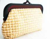 Clutch- Straw Medium Handheld Tan and Brown Summer