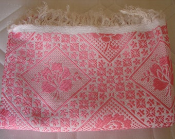 vintage French bedding, shimmery pink roses on white background,raised design bedspread or throw 62'' x 91'' (plus 4'' fringe)