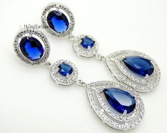 Navy Blue Earrings Royal Blue Bridal Earrings Wedding Earrings Dangle Earrings Wedding Jewelry Bridal Jewelry Oval and Round Cubic Zirconia