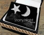 Starry Night Earrings, Gold Stud Earrings, Diamond Studs, Moon Earrings, Bridal Earrings, Star Earrings, Diamond Stud Earrings