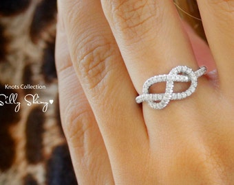 Infinity Engagement Ring - The Original, 14K/18K Gold Ring,  0.35 CT Diamond Ring, Unique Engagement Ring, Infinity Knot Ring