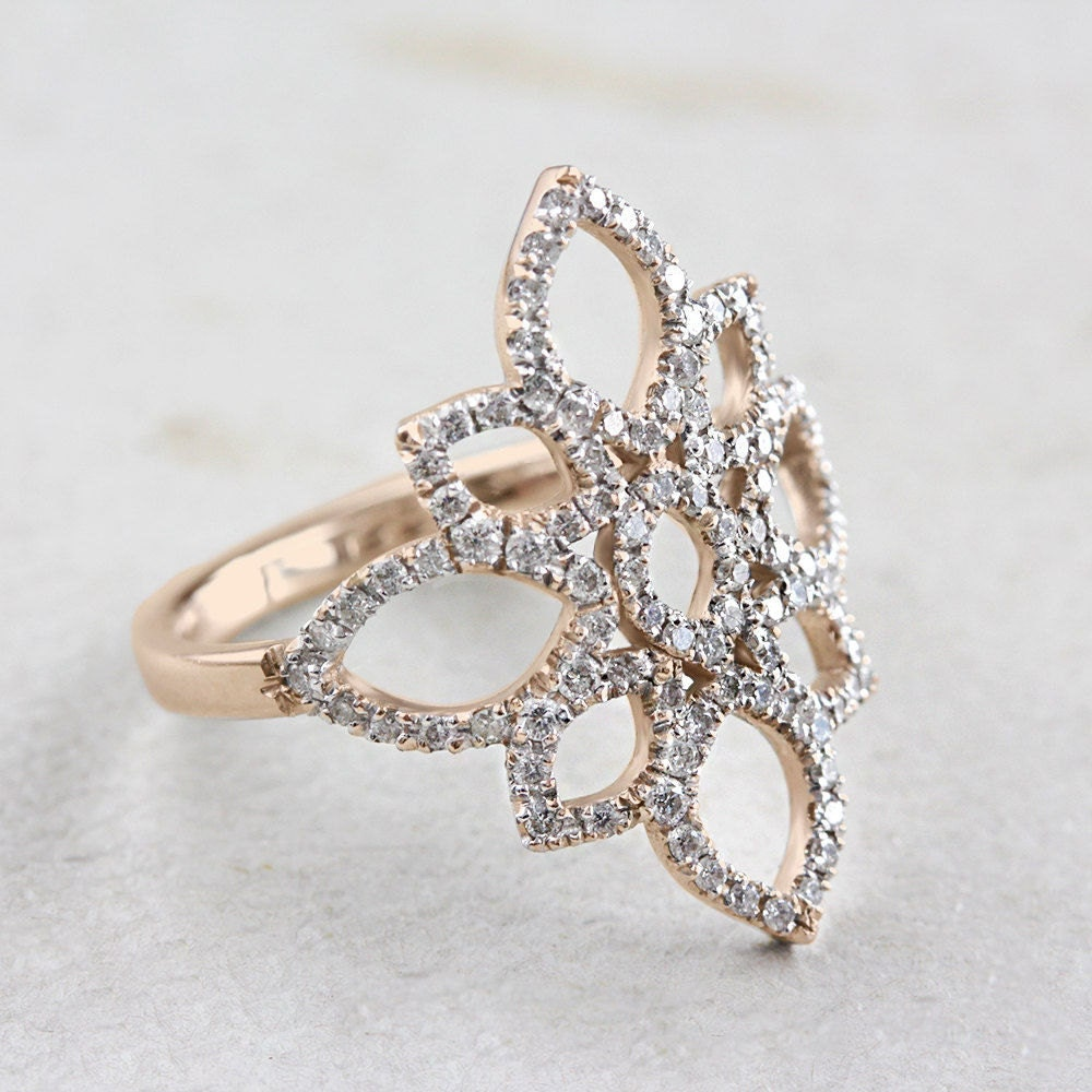 lotus flower ring gold engagement ring by