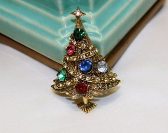 Vintage Brooch Hollycraft Christmas Tree Rhinestone Swag