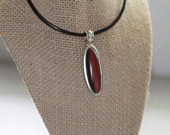 Vintage sterling silver red brown tigers eye oblong long pendant