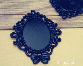 5pcs black color oval Tray pendant  25mmx33mm