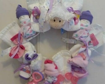 Small Diaper Baby Wreath Pink for AMAZAE