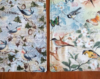 Blue and Peach Placemats (4, 6 or 8) with Birds, Butterflies, Eggs, Flowers, Spring Placemats, Reversible, Gift for Mom, Susan Winget Fabric