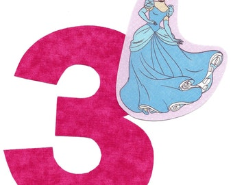 DIY Princess applique and pick any number iron on applique hot pink