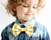Mustard and White Striped Fabric Bow Hair Clip or Bow Tie - Howard Bow - Mustard Bow Tie - dainty and Dapper