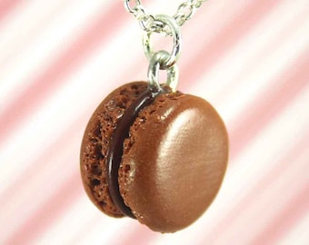 chocolate macaron necklace kawaii polymer clay charms miniature food jewelry polymer clay food necklace macaroon necklace french pastry