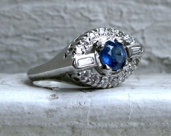 Beautiful Vintage Art Deco Platinum Diamond and Natural Sapphire Engagement Ring - 1.63ct.