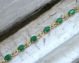 Beautiful Vintage 14K Yellow Gold Emerald and Diamond Bracelet - 7.14ct.