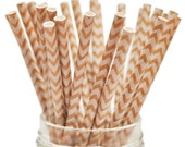 Queen and Co Stylish Stix: 25 Kraft Paper Straws with White Chevron Pattern (Food Crafts, Party Packs, ETC.) - Biodegradable