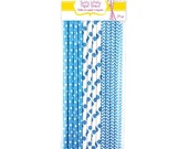 24 Blue and White Polka Dot and Chevron Paper Straws for Food Crafts, Party Packs, Birthdays, Biodegradable - Swirly Whirly