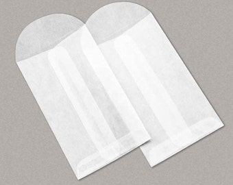 """100 Glassine Top Opening Envelopes 2 1/2 x 4 1/4 Inches (""""No.3"""" Size),"""" with Round Flap"""