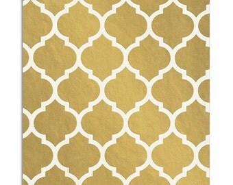 50 Metallic Gold Morrocan Tile Favor Bags, 5 x 7.5 Inch Flat Paper Bags, Quatrefoil