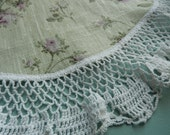 Antique Doily - Crocheted Doily - Refashioned Doily - Lavender Green Doily - Small Round Doily - Vintage Linens