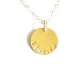 Camelia. Handstamped Name necklace.