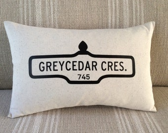 New Home Housewarming Gift - Street Sign Address Pillow Cover - Gift New Home - Customize Street Name & Number - 2nd Anniversary Cotton Gift