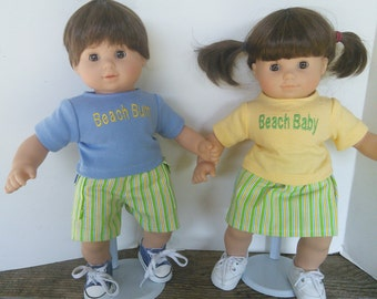 """American Girl 15"""" Doll Clothing - Bitty Twins Bitty Baby Beach Outfits Yellow, Green and Blue for Boy and Girl"""