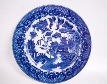 Vintage Blue Willow Plate Dark Cobalt Blue Black Mark Made in Japan 5 inch plate